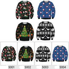 New Happy Unisex Knitted Jumper Santa Reindeer Xmas Sweater Hoodie Pullover