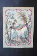 FRENCH SCHOOL 18thC - STUDY CHINOISERIE DECORATION CIRCLE PILLEMENT - WATERCOLOR