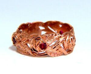 .50ct. Natural Ruby Eternity Floral Vine Ring 14kt Rose Gold
