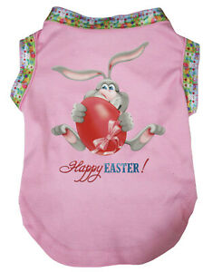 Easter Pink Top T-Shirt Happy Easter Rabbit Pet Cat Dog Puppy One Piece Clothes