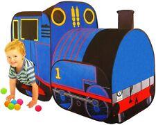 Spielzelt Zug blau Zelt Babyzelt Spielhaus Bällebad Kinderzelt Spielzeug Garten