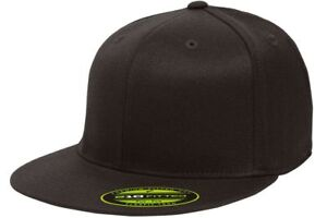 ss Flexfit  6210 Premium Flatbill Fitted Baseball Cap 210 Flat Bill Hat