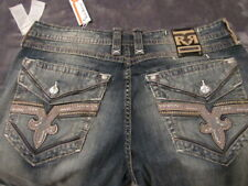 57c482cd9d5 NWT ROCK REVIVAL LOGRES STRAIGHT JEANS SZ 42X34 BRAND NEW DISTRESSED DENIM