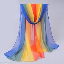 Pretty Women's Rainbow Color Gradient Long Chiffon Beach Shawl Wrap Stole Scarf