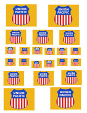 "SHEET OF UNION PACIFIC STICKERS  (8.5"" X 11"") HO scale  !"