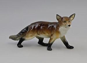 9959239 Porcelain Figurine Fox Dark Brown Ens 3 7/8x7 1/8in