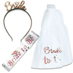 BRIDE TO BE VEIL ON COMB TIARA & FLORAL SASH HEN PARTY NIGHT DO ACCESSORIES