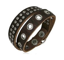 Genuine Brown Leather Studded Wrap Around Surfer Bracelet BBF455