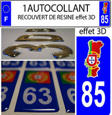 1 sticker plaque immatriculation auto DOMING 3D RESINE CARTE PORTUGAL DEPA 85