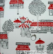 BonEful Fabric FQ Cotton Quilt White Black Red B&W VTG City Town Shop Cafe Tree