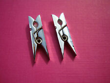 Funky Metallic Silver Peg Earrings Kitsch Retro Cute Quirky Novelty Xmas Gift UK