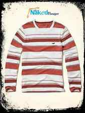 HOLLISTER Shirt Long Sleeve Orange & White Striped Icon Tee Men's Size S NWT