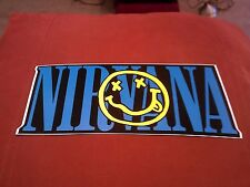"""Nirvana Smiley Face Large 9 3/8""""x4"""" Sticker Decal new old stock"""