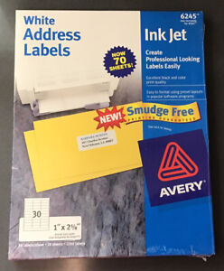 "NEW Avery 6245/8160 White Address Labels Inkjet 1"" x 2 5/8"" 70 Sheets 2100 Each"