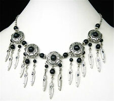 New Tibet Style Tibetan Silver Black Jade Beads Feather Handmade Necklace