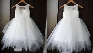 TUTU Lace Tulle Flower Girl Dress /Wedding Easter Junior Bridesmaid Baptism Baby