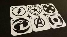 SUPERHERO Set of 6pcs Stencils FLASH CAPTAIN AMERICA X MAN INCREDIBLES AVENGERS
