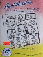 VTG Aunt Marthas 3275 Nursery Rhyme Baby Quilt Block Embroidery Transfer Pattern
