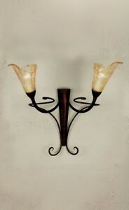 Wall Light Classic Wrought Iron And Glass Of Murano Amber