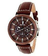 NEW-FOSSIL BROWN LEATHER BAND, DIAL,SILVER CASE,CHRONOGRAPH WATCH-FS4591