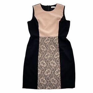 Calvin Klein Dress Womens 12 Muted Pink Black Lace Trim Panel Colorblock Sheath