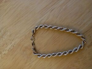 """9ct Gold 7"""" rope chain bracelet"""