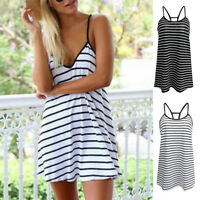 Women's Striped Cami Swing Dress Summer Holiday Beach Strappy Mini Dresses