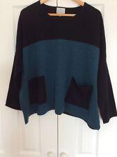 Masai 80% Wool Black Turquoise Boxy Jumper NWOT Size L