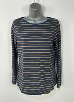 WOMENS FAT FACE SIZE UK 8 BLUE&BROWN STRIPE LONG SLEEVE CASUAL STRETCH T-SHIRT