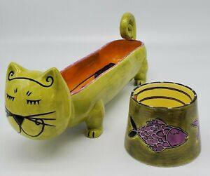 HAPPY CAT BY OUTI: Long Cat Shaped Food Bowl and Fish Design Water Bowl Set of 2