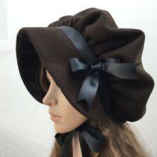 Ladies VICTORIAN REGENCY Brown Wool BONNET Cream Dickens Austen Period Christmas