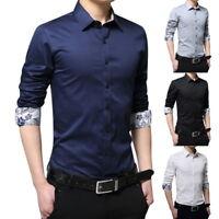 Men's 100% Cotton Long Sleeve Casual Shirts Slim Fit Button Down Dress Shirts IL