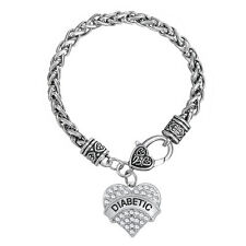 Diabetic Awareness Heart Crystal Medical Alert Men Hand Chain Bracelet Women