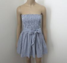 Hollister Womens Strapless Plaid Checkered Dress Size Small Bow Blue & White