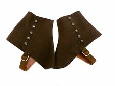 Antique Vintage Brown Wool Spats Leather Buckles Side Button Nice