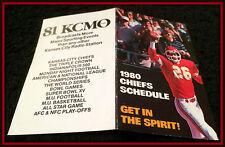 1980 KANSAS CITY CHIEFS KCMO RADIO 81 FOOTBALL POCKET SCHEDULE FREE SHIPPING