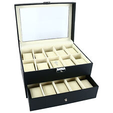 Watch Box  20 Slots Vintage Style Watch Display Storage Box Case Drawer Viewing