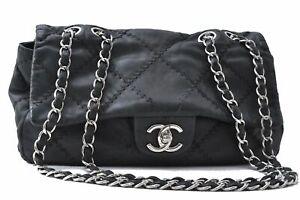 Authentic CHANEL Wild Stitch Double Chain Shoulder Cross Body Bag Black CC D4530