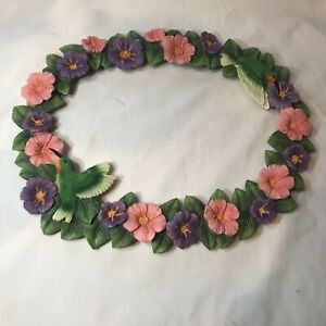 Hummingbird & Flower  Picture Frame Poured Resin  Pink Green Purple ColectIonEtc