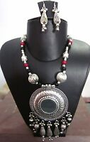 Statement Mirror Necklace Gypsy Tribal Boho Vintage Kuchi Womens Fashion Jewelry