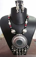 Statement Mirror Necklace Gypsy Tribal Boho Vintage Kuchi Womens Fashion Jewelry