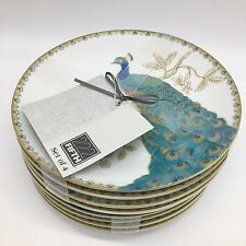 """x8 222 Fifth Peacock Garden Appetizer Plate Set Dessert Snack Turquoise 6"""" NEW"""