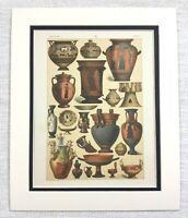1895 Antico Stampa Antico Greco Terracotta Ceramica Urna Vaso Ciotola Greco Art