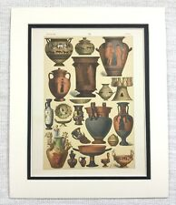 1895 Antique Print Ancient Greek Terracotta Pottery Urn Vase Bowl Grecian Art
