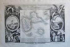 1856 DECORATIVE ANTIQUE MAP LEVASSEUR-COLONIES FRANCAISES,GUADELOUPE