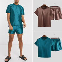 Mens Casual Silky Satin Pyjama Suit Sleepwear Nightwear Pyjamas Set Top + Shorts