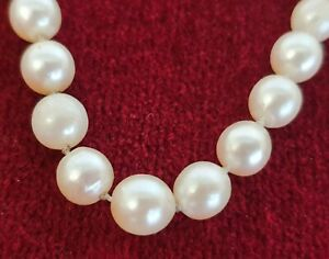BEAUTIFUL ANTIQUE GRADUATED CULTURED PEARL NECKLACE 9CT WHITE GOLD CLASP WEDDING
