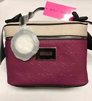 Betsey Johnson FUSHIA BOW TRAIN CASE COSMETIC BAG Hearts W/ mirror charm New!