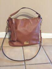 Pre-owned Michael Kors BEDFORD Large Tassel Top Zip Shoulder Bag Acorn Brown