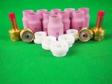 19Pcs Gas Lens Kit Jumbo Gas lens Alumina Cups Aluminum TIG XL #12 Gaslens Kit
